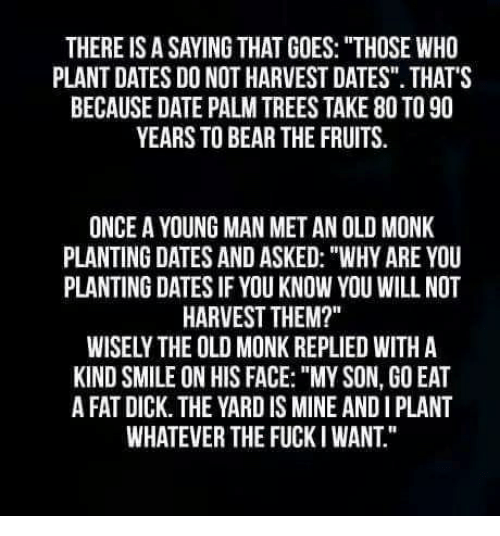 "Bear, Date, and Dick: THERE IS A SAYING THAT GOES: ""THOSE WHO  PLANT DATES DO NOT HARVEST DATES"". THATS  BECAUSE DATE PALM TREES TAKE 80 TO 90  YEARS TO BEAR THE FRUITS.  ONCE A YOUNG MAN MET AN OLD MONK  PLANTING DATES AND ASKED: ""WHY ARE YOU  PLANTING DATES IF YOU KNOW YOU WILL NOT  HARVEST THEM?""  WISELY THE OLD MONK REPLIED WITH A  KIND SMILE ON HIS FACE: ""MY SON, GO EAT  A FAT DICK. THE YARD IS MINE AND I PLANT  WHATEVER THE FUCKI WANT."""