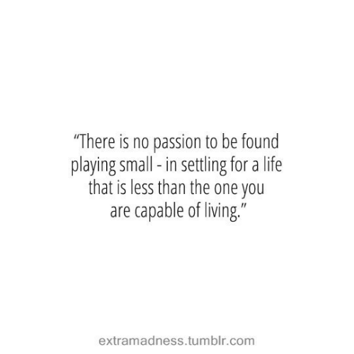 "Life, Tumblr, and Living: ""There is no passion to be found  playing small-in settling for a life  that is less than the one you  are capable of living.""  extramadness.tumblr.com"