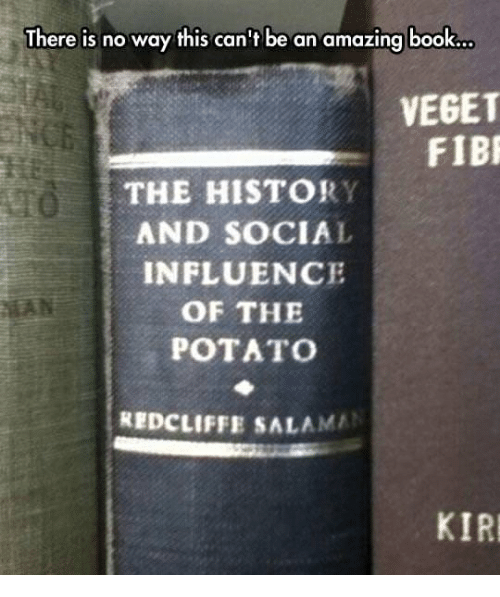 Book, History, and Potato: There is no way this can't be an amazing book..  VEGET  FIB  THE HISTORY  AND SOCIAL  INFLUENCE  OF THE  POTATo  REDCLIFFE SALAMA  KIR