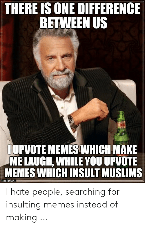 Memes, Insulting, and Com: THERE IS ONE DIFFERENCE  BETWEEN US  IUPVOTE MEMESWHICH MAKE  ME LAUGH, WHILE YOU UPVOTE  MEMES WHICH INSULT MUSLIMS  mgflip:com I hate people, searching for insulting memes instead of making ...