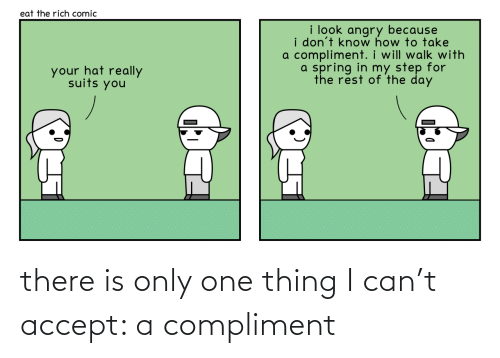 One Thing: there is only one thing I can't accept: a compliment