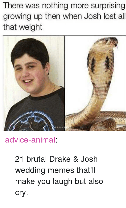 "Advice, Drake, and Drake & Josh: There was nothing more surprising  growing up then when Josh lost all  that weight <p><a href=""http://advice-animal.tumblr.com/post/162180097102/21-brutal-drake-josh-wedding-memes-thatll-make"" class=""tumblr_blog"">advice-animal</a>:</p>  <blockquote><p>21 brutal Drake &amp; Josh wedding memes that'll make you laugh but also cry.</p></blockquote>"