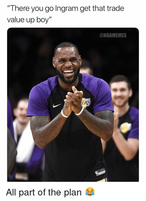 """there you go: There you go Ingram get that trade  value up boy""""  @NBAMEMES All part of the plan 😂"""