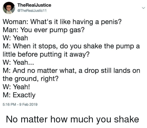 Yeah, Penis, and How: TheRealJustice  @TheRealJustic11  Woman: What's it like having a penis?  Man: You ever pump gas?  W: Yeah  M: When it stops, do you shake the pump a  little before putting it away?  W: Yeah...  M: And no matter what, a drop still lands on  the ground, right?  W: Yeah!  M: Exactly  5:16 PM -9 Feb 2019 No matter how much you shake