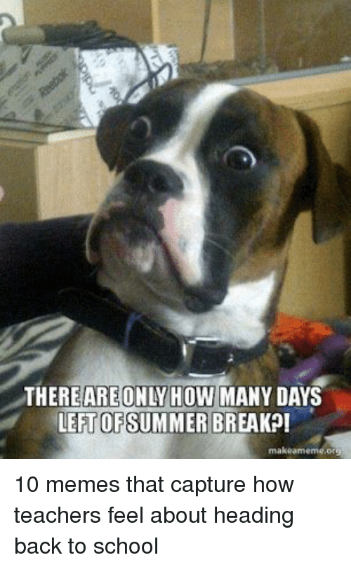 Memes, School, and Back: THEREAREONLY HOW MANY DAYS  LET OFSUMMER BREAKP! 10 memes that capture how teachers feel about heading back to school