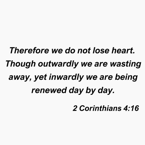 day by day: Therefore we do not lose heart.  Though outwaraly we are wasting  away, yet inwardly we are being  renewed day by day.  2 Corinthians 4:16