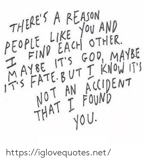Know Its: THERE'S A REASON  PEOPLE LIKE YOU AND  I FIND EACH OTHER.  MAYBE IT'S GOD, MAYBE  IT'S FATE.BUT I KNOW IT'S  NOT AN ACCIDENT  THAT I FOUND  you. https://iglovequotes.net/