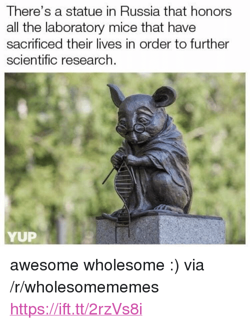 """Russia, Awesome, and Wholesome: There's a statue in Russia that honors  all the laboratory mice that have  sacrificed their lives in order to further  scientific research.  YUP <p>awesome wholesome :) via /r/wholesomememes <a href=""""https://ift.tt/2rzVs8i"""">https://ift.tt/2rzVs8i</a></p>"""