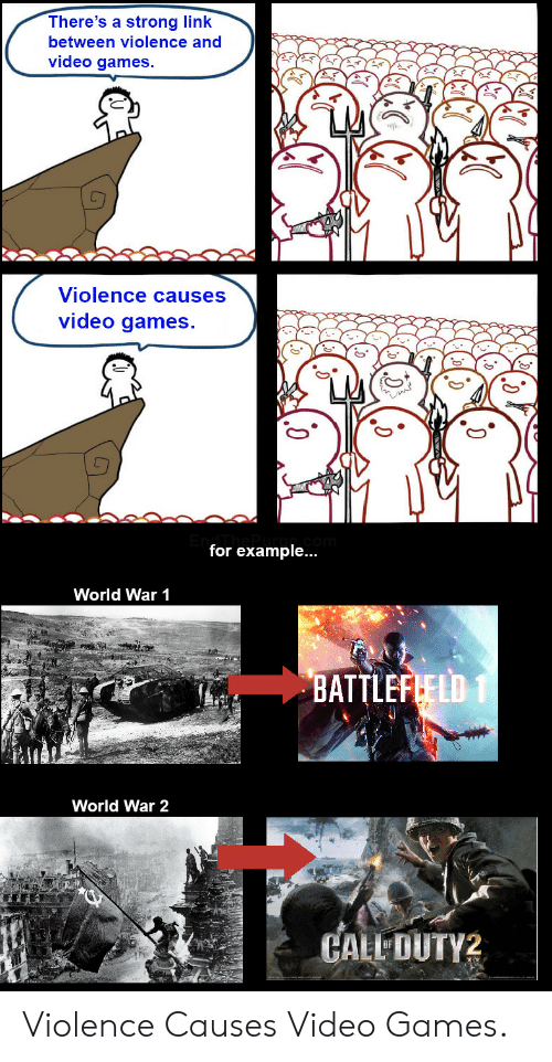 Video Games, Games, and Link: There's a strong link  between violence and  video games.  Violence causes  video games.  for example...  World War 1  BATTLEFLELD 1  World War 2  CALL DUTY2 Violence Causes Video Games.