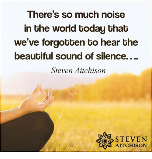 sound of silence: There's so much noise  in Ghe world Goday Ghab  we've forgotten to hear the  beautiful sound of silence....  Steven Aitchison  STEVEN  AITCHISON