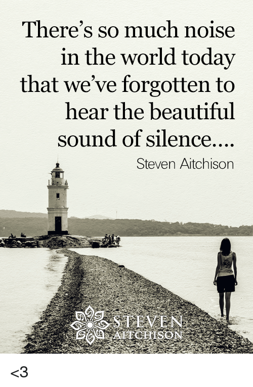 sound of silence: There's so much noise  in the world today  that we've forgotten to  hear the beautiful  sound of silence....  Steven Aitchison <3