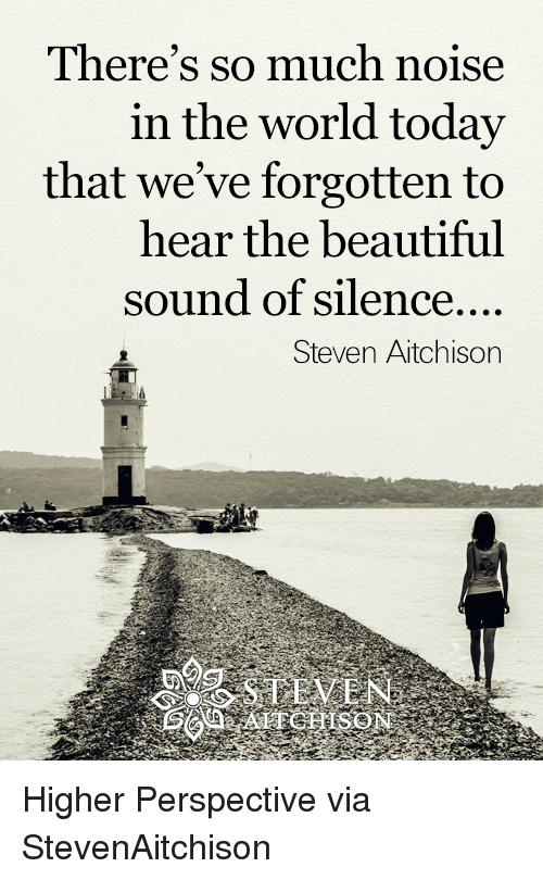 sound of silence: There's so much noise  in the world today  that we've forgotten to  hear the beautiful  sound of silence....  Steven Aitchison Higher Perspective via StevenAitchison