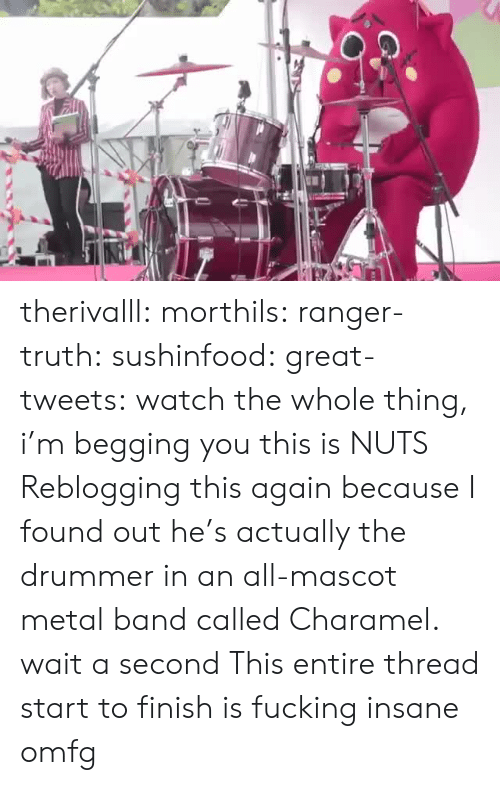 omfg: therivalll:  morthils:  ranger-truth:  sushinfood:  great-tweets:  watch the whole thing, i'm begging you  this is NUTS   Reblogging this again because I found out he's actually the drummer in an all-mascot metal band called Charamel.  wait a second   This entire thread start to finish is fucking insane omfg