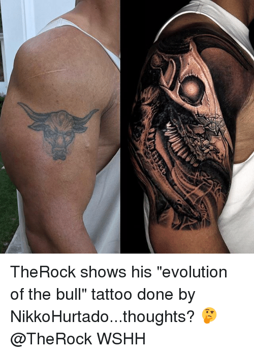"""bulling: TheRock shows his """"evolution of the bull"""" tattoo done by NikkoHurtado...thoughts? 🤔 @TheRock WSHH"""