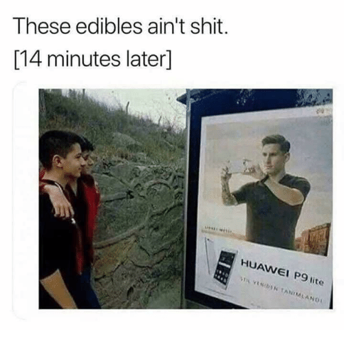 Memes, Shit, and 🤖: These edibles ain't shit.  [14 minutes later]  HUAWEI P9 lite  AW