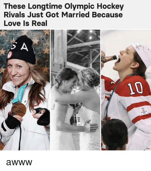 Hockey, Love, and Memes: These Longtime Olympic Hockey  Rivals Just Got Married Because  Love Is Real  10 awww