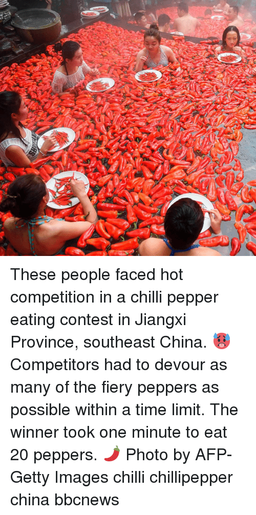 Bbcnews: These people faced hot competition in a chilli pepper eating contest in Jiangxi Province, southeast China. 🥵 Competitors had to devour as many of the fiery peppers as possible within a time limit. The winner took one minute to eat 20 peppers. 🌶 Photo by AFP-Getty Images chilli chillipepper china bbcnews
