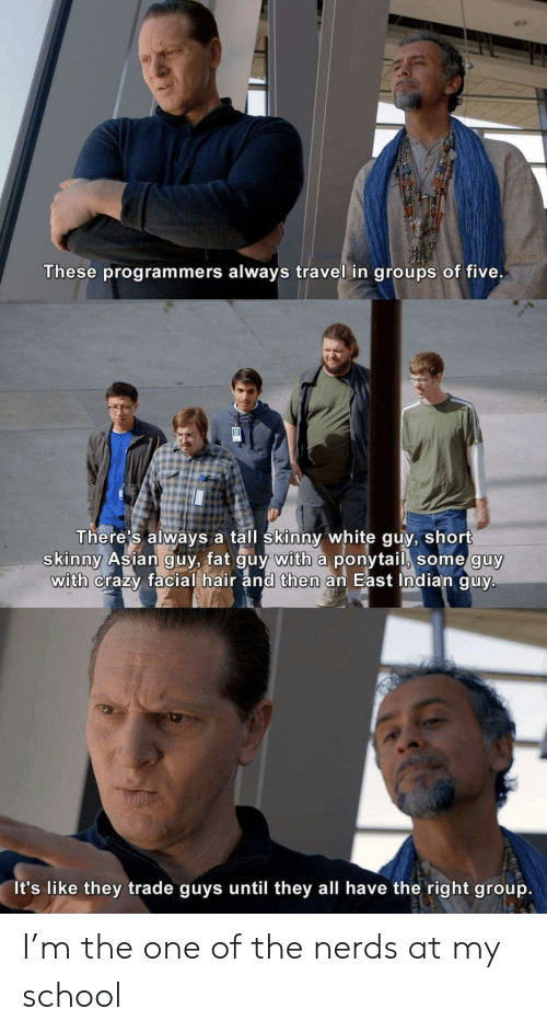 Asian, Crazy, and School: These programmers always travel in groups of five.  There's always a tall skinny white guy, short  skinny Asian guy, fat guy with a ponytail, some guy  with crazy facial hair and then an East Indian guy.  It's like they trade guys until they all have the right group. I'm the one of the nerds at my school