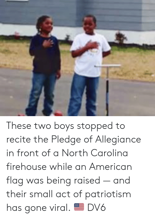 Memes, American, and American Flag: These two boys stopped to recite the Pledge of Allegiance in front of a North Carolina firehouse while an American flag was being raised — and their small act of patriotism has gone viral. 🇺🇸  DV6