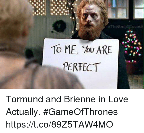 Love, Love Actually, and Gameofthrones: TheSmallCoundil  To ME, You ARE  PERFECT  .2 Tormund and Brienne in Love Actually. #GameOfThrones https://t.co/89Z5TAW4MO