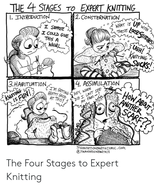 Good, Another, and Com: THESTAGESTO EXPERT KNITTING  . CONSTERNATION  WTH  I, TNTRODUCTION  THESE  SUPPOSE  エCOULD GIVE  UGH!  KNiTrING  THIS A  L4 ASSIMILATION  ,ANOTHER  3.HABITUATION  PRETTY GOOD .  AT THIS!  STRANDEDONEARTHCOMIC, CoM  CSTRANDEDONEARTH3 The Four Stages to Expert Knitting
