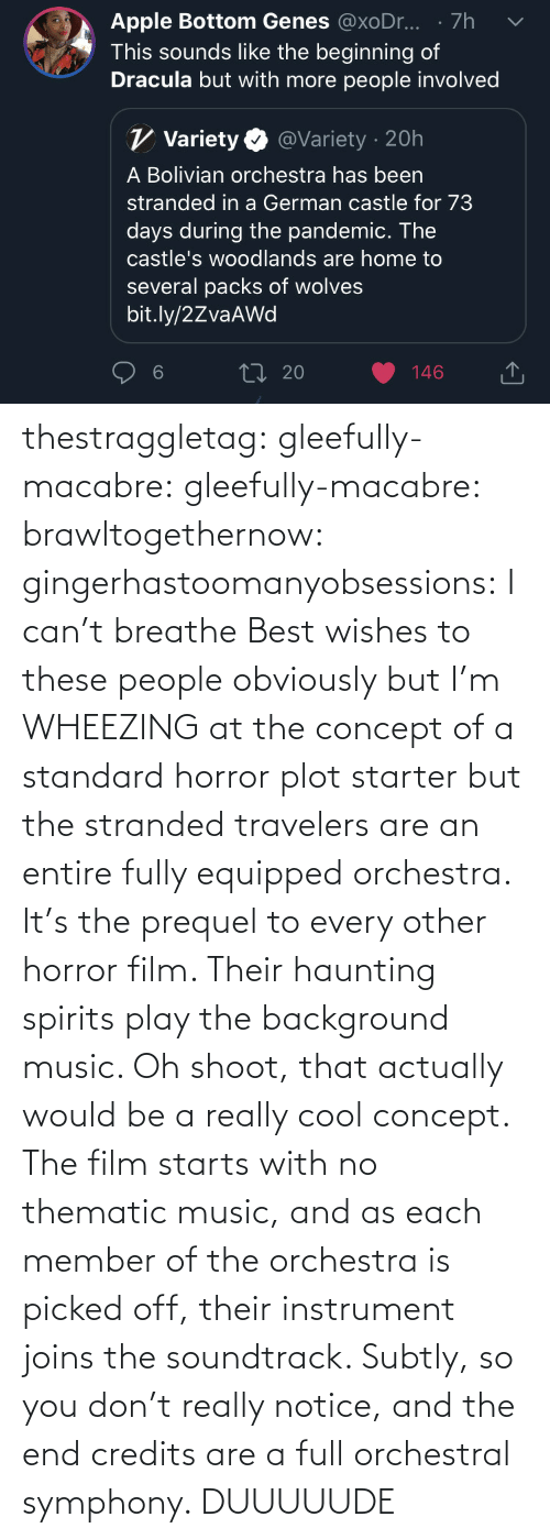 A: thestraggletag:  gleefully-macabre:  gleefully-macabre:   brawltogethernow:  gingerhastoomanyobsessions: I can't breathe Best wishes to these people obviously but I'm WHEEZING at the concept of a standard horror plot starter but the stranded travelers are an entire fully equipped orchestra.    It's the prequel to every other horror film. Their haunting spirits play the background music.     Oh shoot, that actually would be a really cool concept. The film starts with no thematic music, and as each member of the orchestra is picked off, their instrument joins the soundtrack. Subtly, so you don't really notice, and the end credits are a full orchestral symphony.   DUUUUUDE