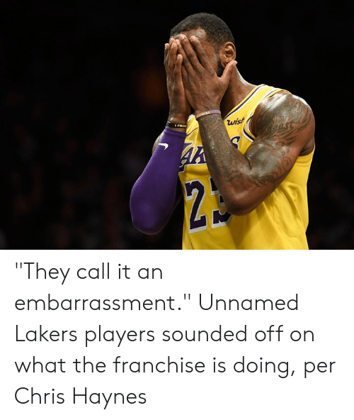 """embarrassment: """"They call it an embarrassment.""""  Unnamed Lakers players sounded off on what the franchise is doing, per Chris Haynes"""