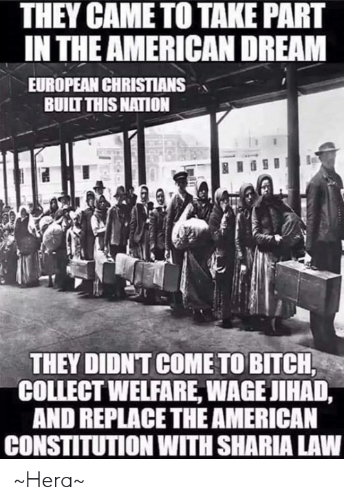 Constitution: THEY CAME TO TAKE PART  IN THE AMERICAN DREAM  EUROPEAN CHRISTIANS  BUILT THIS NATION  THEY DIDNT COME TO BITCH  COLLECT WELFARE, WAGE JIHAD,  AND REPLACETHE AMERICAN  CONSTITUTION WITH SHARIA LAW ~Hera~