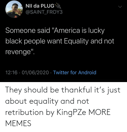 thankful: They should be thankful it's just about equality and not retribution by KingPZe MORE MEMES