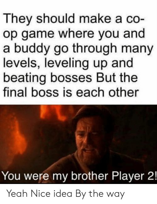 Final Boss, Yeah, and Game: They should make a co-  op game where you and  a buddy go through many  levels, leveling up and  beating bosses But the  final boss is each other  You were my brother Player 2! Yeah Nice idea By the way