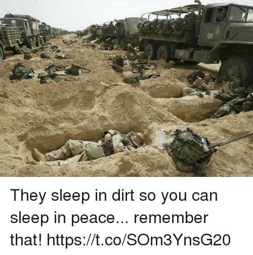 Memes, Peace, and Sleep: They sleep in dirt so you can sleep in peace... remember that! https://t.co/SOm3YnsG20