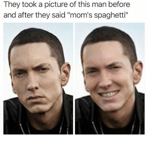 """moms spaghetti: They took a picture of this man before  and after they said """"mom's spaghetti"""""""