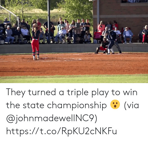 The State: They turned a triple play to win the state championship 😮 (via @johnmadewellNC9) https://t.co/RpKU2cNKFu