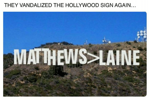 Hockey, Vandalize, and Vandalism: THEY VANDALIZED THE HOLLYWOOD SIGN AGAIN.  MATTHEWS LAINE