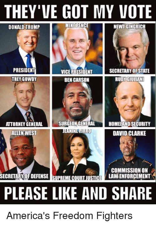 Giuliani: THEY'VE GOT MY VOTE  MIKE PENCE  NEWT GINGRICH  DONALD TRUMP  PRESIDENT  SECRETARY OF STATE  VICE PRESIDENT  TREY GOWDY  BEN CARSON  RUDY GIULIANI  SURGEON GENERAL  ATTORNEY GENERAL  HOMELAND SECURITY  1,1  DAVID CLARKE  ALLEN WEST  COMMISSION ON  LAVNENFORCEMENT  SECRETARY OFDEFENSE SUPREME COURT JUSTICE  PLEASE LIKE AND SHARE America's Freedom Fighters