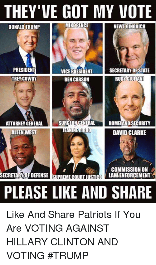 Giuliani: THEY'VE GOT MY VOTE  MIKE PENCE  NEWT GINGRICH  DONALD TRUMP  PRESIDENT  SECRETARY OF STATE  VICE PRESIDENT  TREY GOWDY  BEN CARSON  RUDY GIULIANI  SURGEON GENERAL  ATTORNEY GENERAL  HOMELAND SECURITY  1,1  DAVID CLARKE  ALLEN WEST  COMMISSION ON  LAVNENFORCEMENT  SECRETARY OFDEFENSE SUPREME COURT JUSTICE  PLEASE LIKE AND SHARE Like And Share Patriots If You Are VOTING AGAINST HILLARY CLINTON AND VOTING #TRUMP