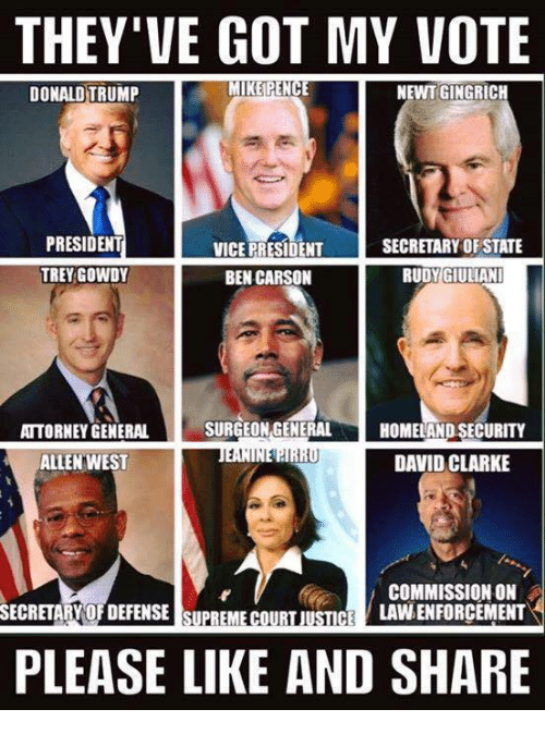 Giuliani: THEY'VE GOT MY VOTE  MIKE PENCE  NEWT GINGRICH  DONALD TRUMP  PRESIDENT  SECRETARY OF STATE  VICE PRESIDENT  TREY GOWDY  RUDY GIULIANI  BEN CARSON  SURGEON GENERAL  ATTORNEY GENERAL  HOMELAND SECURITY  1,I  DAVID CLARKE  ALLEN WEST  COMMISSION ON  LAVNENFORCEMENT  SECRETARY OFDEFENSE SUPREME COURT JUSTICE  PLEASE LIKE AND SHARE