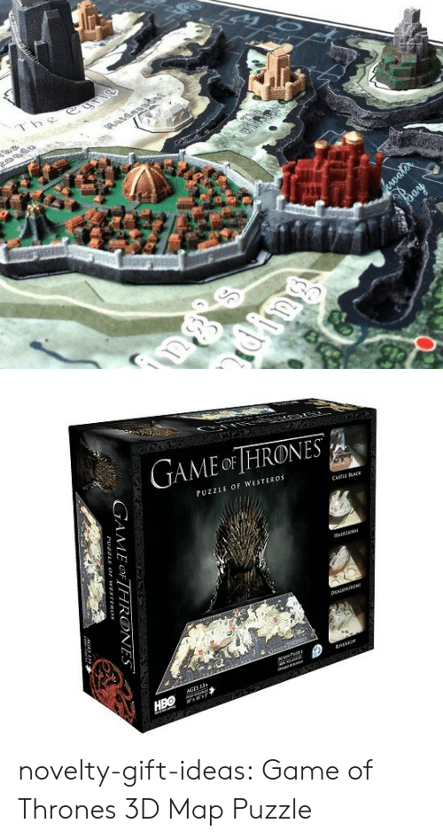 Game of Thrones, Tumblr, and Blog: Thg  1   GAME oF HRONES  PUZZLE OF WESTEROS  CASTuE CK  HARRENHI  誘:1  靃*  AGES 13 novelty-gift-ideas:  Game of Thrones 3D Map Puzzle