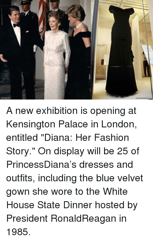 "Fashion, Memes, and White House: thing  claim:  AP Photo/Alastair Grant  (AP Photo,file) A new exhibition is opening at Kensington Palace in London, entitled ""Diana: Her Fashion Story."" On display will be 25 of PrincessDiana's dresses and outfits, including the blue velvet gown she wore to the White House State Dinner hosted by President RonaldReagan in 1985."