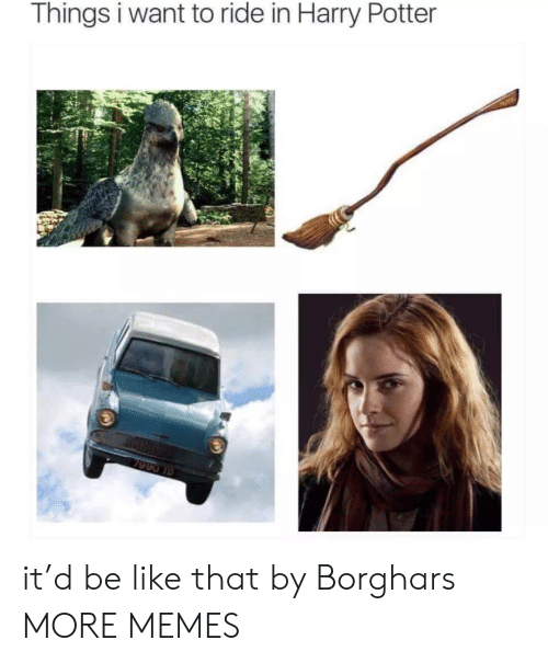 Be Like, Dank, and Harry Potter: Things i want to ride in Harry Potter  7990 10 it'd be like that by Borghars MORE MEMES