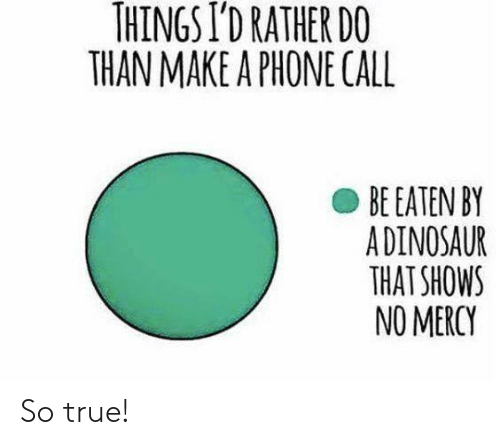 Dank, Phone, and True: THINGS I'D RATHER DO  THAN MAKE A PHONE CALL  BE EATEN BY  ADINOSAUR  THAT SHOWS  NO MERCY So true!