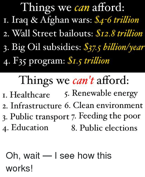 Memes, 🤖, and Wall Street: Things we can afford:  I. Iraq & Afghan wars: S4-6 trillion  2. Wall Street bailouts: S12.8 trillion  3. Big Oil Subsidies: S37s billion year  4. F35 program: SI.5 trillion  Things we  can't afford:  I. Healthcare  5. Renewable energy  2. Infrastructure 6. Clean environment  3. Public transport 7. Feeding the poor  4. Education  8. Public elections Oh, wait — I see how this works!