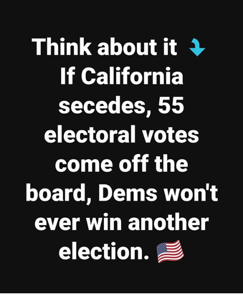California, Board, and Another: Think about it  If California  secedes, 55  electoral votes  come off the  board, Dems won't  ever win another  election.