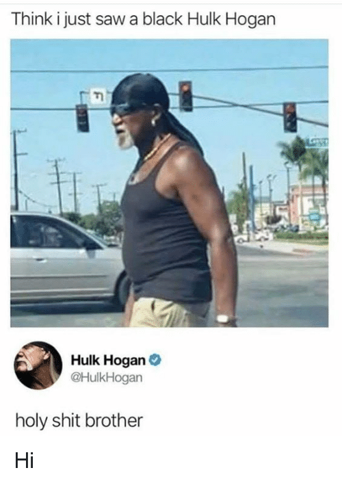 Hulk Hogan, Saw, and Shit: Think i just saw a black Hulk Hogan  Hulk Hogan  @HulkHogan  holy shit brother Hi