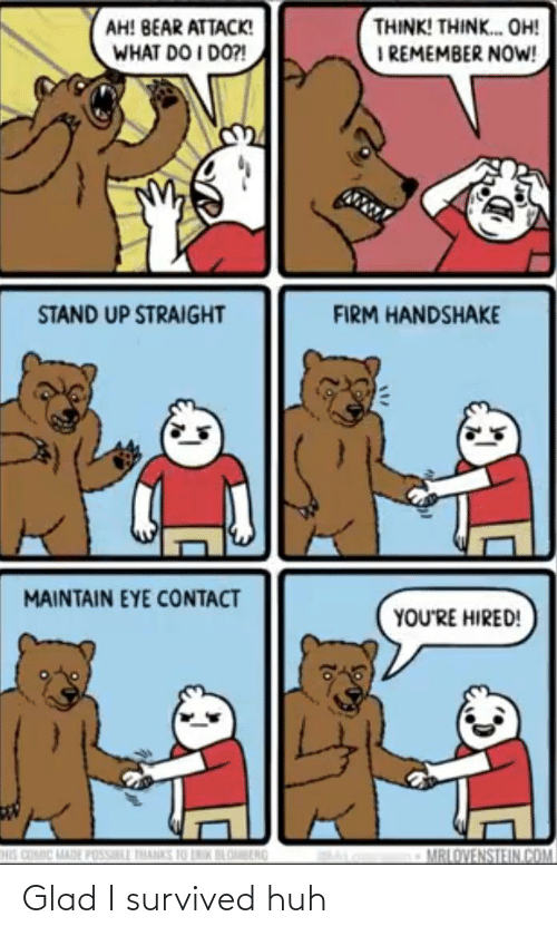 Bear: THINK! THINK. OH!  I REMEMBER NOW!  AH! BEAR ATTACK!  WHAT DO I DO?!  STAND UP STRAIGHT  FIRM HANDSHAKE  MAINTAIN EYE CONTACT  YOU'RE HIRED!  HIS COMIC MADE POSSILL THANKS 10 LNIK BLOBENG  MRLOVENSTEIN.COM Glad I survived huh