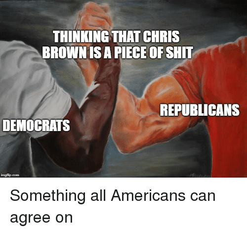 Shit, Piece of Shit, and Can: THINKING THAT CHRIS  BROWNIS A PIECE OF SHIT  REPUBLICANS  DEMOCRATS Something all Americans can agree on