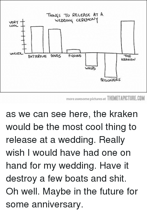 Future, Shit, and Cool: THINKS TO RELEASE AT A  WEDDING CEREMON  BUTTERFLIES DOVES PiGEDNS  THE  KRAKEN  WASPS  RISONNERS  more awesome pictures at THEMETAPİCTURE.COM as we can see here, the kraken would be the most cool thing to release at a wedding. Really wish I would have had one on hand for my wedding. Have it destroy a few boats and shit. Oh well. Maybe in the future for some anniversary.