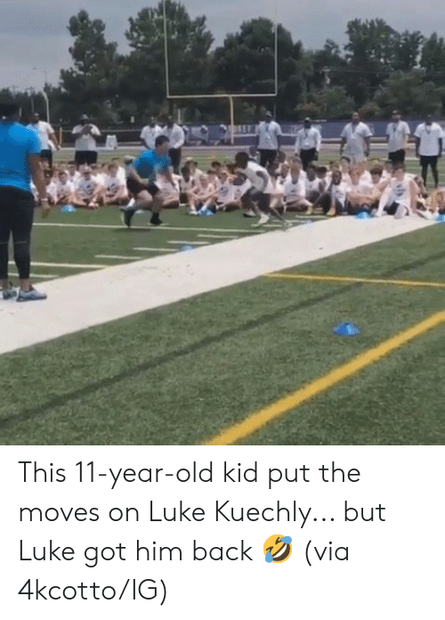 Old, Back, and Got: This 11-year-old kid put the moves on Luke Kuechly... but Luke got him back 🤣  (via 4kcotto/IG)