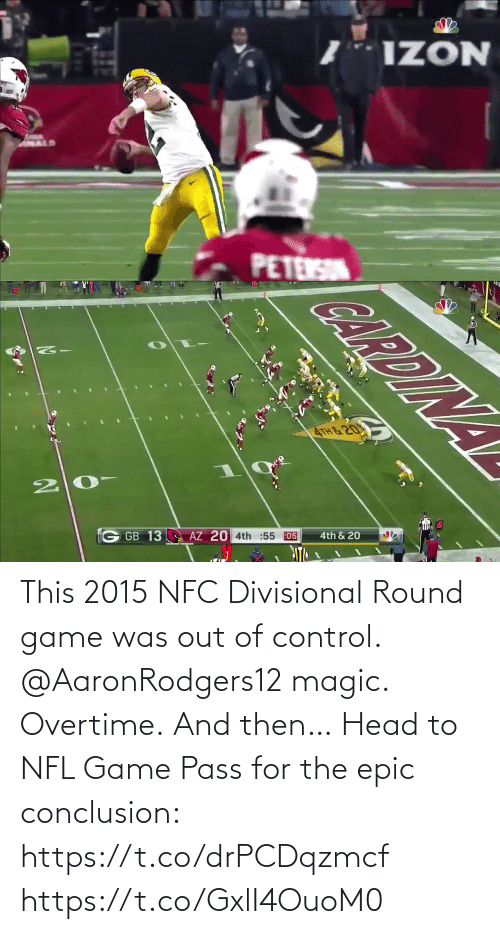 Control: This 2015 NFC Divisional Round game was out of control.  @AaronRodgers12 magic. Overtime. And then…   Head to NFL Game Pass for the epic conclusion: https://t.co/drPCDqzmcf https://t.co/GxlI4OuoM0
