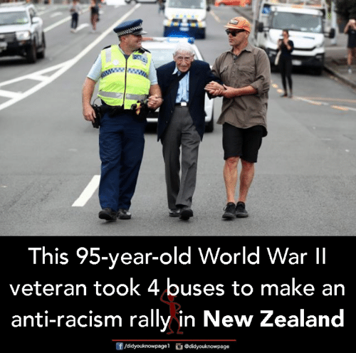 Memes, Racism, and New Zealand: This 95-year-old World War lI  veteran took 4 buses to make an  anti-racism rally in New Zealand  f/didyouknowpagel  Ο@didyouknowpage
